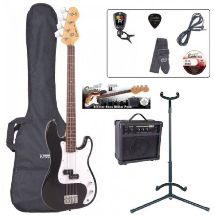 Encore E4 Bass Guitar Pack Black